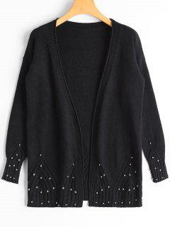 Open Front Beaded Sheer Cardigan - Black