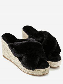 Faux Fur Criss Cross Wedge Heel Slippers - Black 36