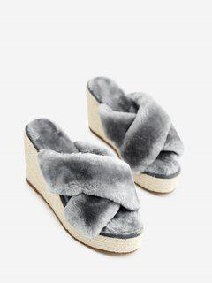 Faux Fur Criss Cross Wedge Heel Slippers - Gray 36