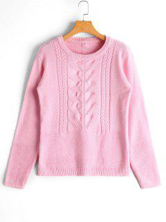 Cable Knit Panel Bowknot Applique Sweater - Pink