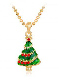 Star Faux Crystals Christmas Tree Necklace - Green