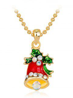 Enamel Christmas Bell Pendant Necklace - Red