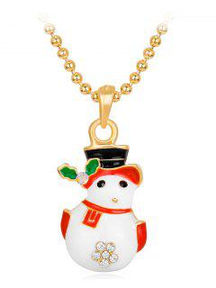 Enamel Christmas Snowman Pendant Necklace - White