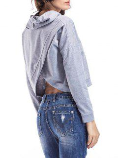 Loose Casual Crossed Back Hoodie - Gray M
