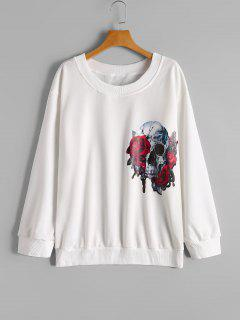 Loose Skull Floral Sweatshirt - White Xl