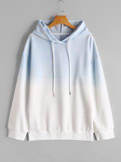 Drop Shoulder Casual Ombre Hoodie - Blue And White S