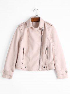 Asymmetric Zipper Plain Faux Leather Jacket - Light Pink M