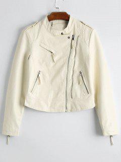Plain Asymmetric Zipped Faux Leather Jacket - Off-white M