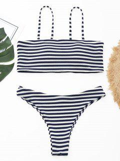 Textured Striped Thong Bikini Set - Stripe S