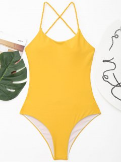 Strappy High Cut Plaited One Piece Swimwear - Yellow L