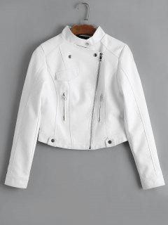 Zip Up Faux Leather Jacket - White M