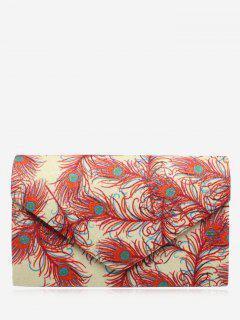 Envelope Print Sparkle Clutch Bag - Red