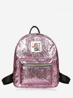Glänzender Rucksack Mit Reißverschluss - Pink