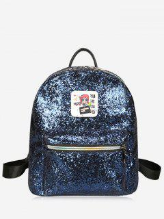 Zipper Glitter Backpack - Blue