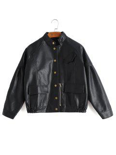 Faux Leather Snap Button Jacket With Pockets - Black L