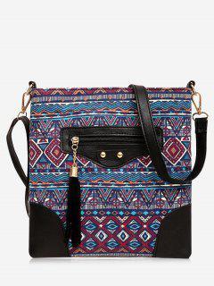 Tassel Tribal Print Crossbody Bag - Red
