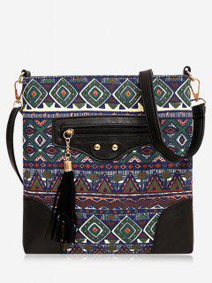 Tassel Tribal Print Crossbody Bag - Green