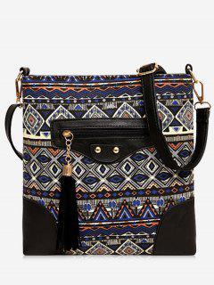 Tassel Tribal Print Crossbody Bag - Blue