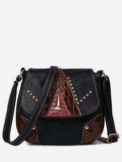 Geometric Hollow Out Rivet Crossbody Bag - Black