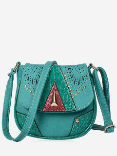 Geometric Hollow Out Rivet Crossbody Bag - Lake Blue
