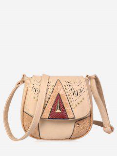 Geometric Hollow Out Rivet Crossbody Bag - Beige
