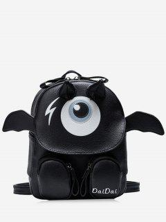Print Little Monster Faux Leather Backpack - Black