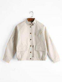 Faux Leather Snap Button Jacket With Pockets - Beige S