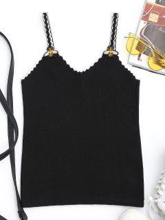 Patchwork Knitted Camisole - Black
