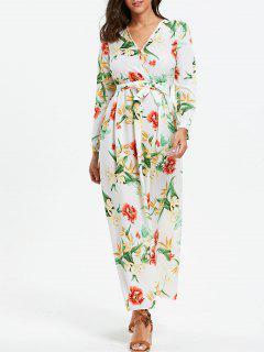 Floral Print Surplice Imperio Cintura Vestido Maxi - Xl