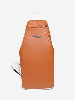 Metal Embellished Color Block Front Crossbody Bag - Orange