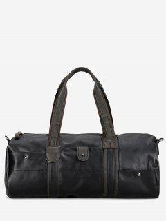 Faux Leather Cross Body Weekend Bag - Black