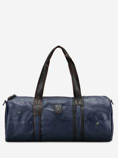 Faux Leather Weekend Bag - Blue