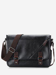 Two Tone Double Buckle Straps Crossbody Bag - Black