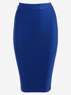 High Waist Plain Bodycon Skirt - Blue S