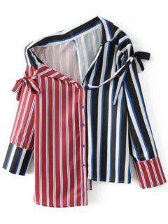 Skew Collar Striped Asymmetric Blouse - Stripe L