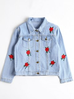 Denim Floral Embroidered Cropped Jacket - Denim Blue M