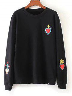 Loose Heart Embroidered Sweatshirt - Black S