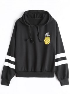Striped Pineapple Hoodie - Black
