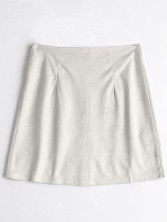 Zippered A Line Suede Skirt - Nude M