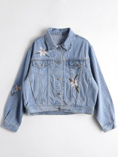 Floral Embroidered Relaxed Denim Jacket - Denim Blue S
