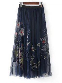 Voile Embroidered A Line Maxi Skirt - Purplish Blue L