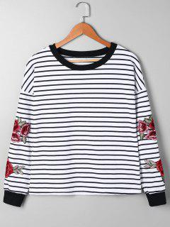 Striped Floral Embroidery Sweatshirt - Black Stripe M
