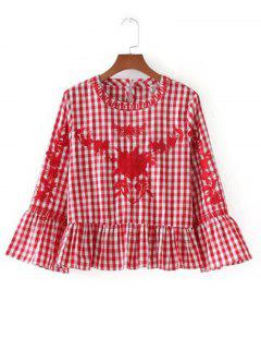 Flounces Checked Embroidered Blouse - Red S