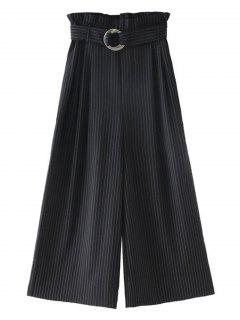 Belted Ninth Stripes Wide Leg Pants - Black S