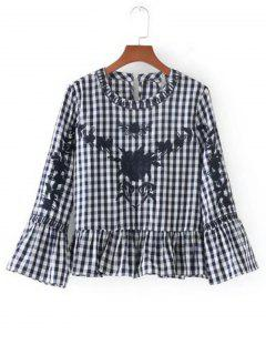 Flounces Checked Embroidered Blouse - Black M