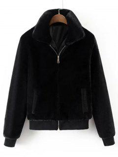 Cozy Zip Up Fuzzy Jacket - Black L