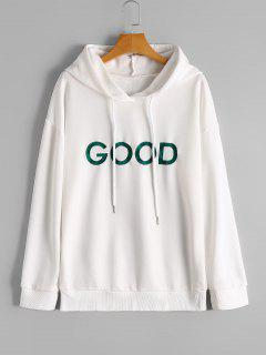 Drop Shoulder Good Embroidered Hoodie - White M