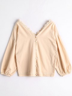 Buttons Puff Sleeve Blouse - Apricot