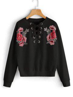 Ate La Camiseta Remendada Floral - Negro L
