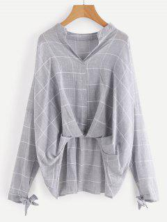 Gathered Plaid High Low Blouse - Gray M
